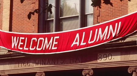 "picture of ""welcome alumni"" banner at Rutgers' Winants Hall"