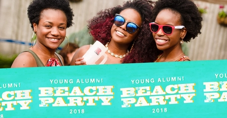 Banner image for young alumni beach party featuring three people